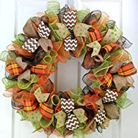 Fall Wreaths | Thanksgiving Deco Mesh Front Door Wreath; Brown Green Burlap Orange : F1