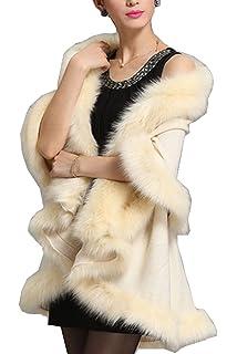Femme Poncho de Soirée Cocktail Fausse Fourrure Élégant Ouverture Chaud  Echarpe Mode Châle Veste Manteau Beunique fe142328963