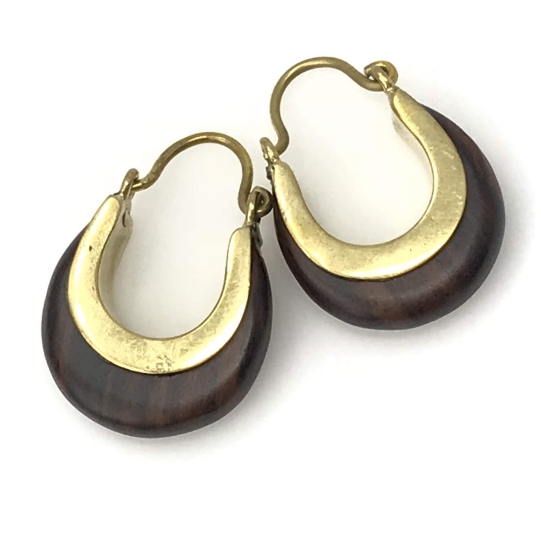 UMBRELLALABORATORY Tribal Organics Earrings Wooden Brass Tropical Bohemian organic SOLD AS PAIR W 1a