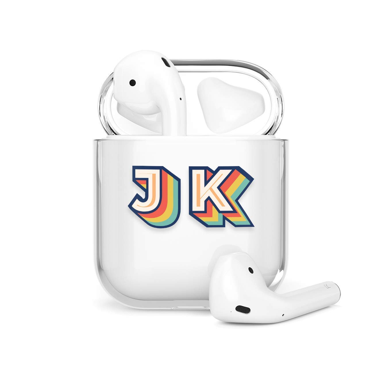 3D Letters Name AirPods Pro Case with Keychain Clear Protective Customized Cartoon Monogram Compatible with AirPods 1 2 AP58
