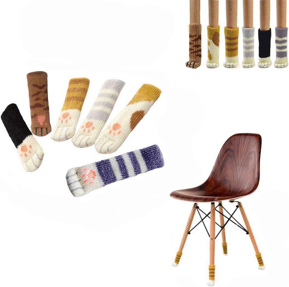 24pcs Chair Socks For Furniture Legs, Cute Cat Paw Chair Socks, High Elastic Chair Leg Floor Protectors Non Slip Furniture Pads, Reusable Furniture Felt Pads,6 Different Colors