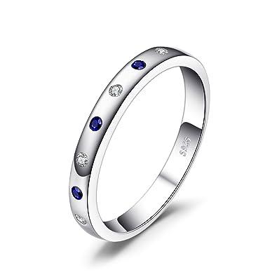 f1e4e1861d23 JewelryPalace Anillo elegante adornado Zafiro creado y Circonita en plata  de ley 925  Amazon.es  Joyería