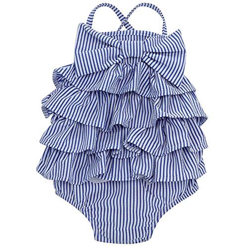 Mud Pie Baby Girls' Toddler Swimsuit One Piece, Ruffle, 5 -