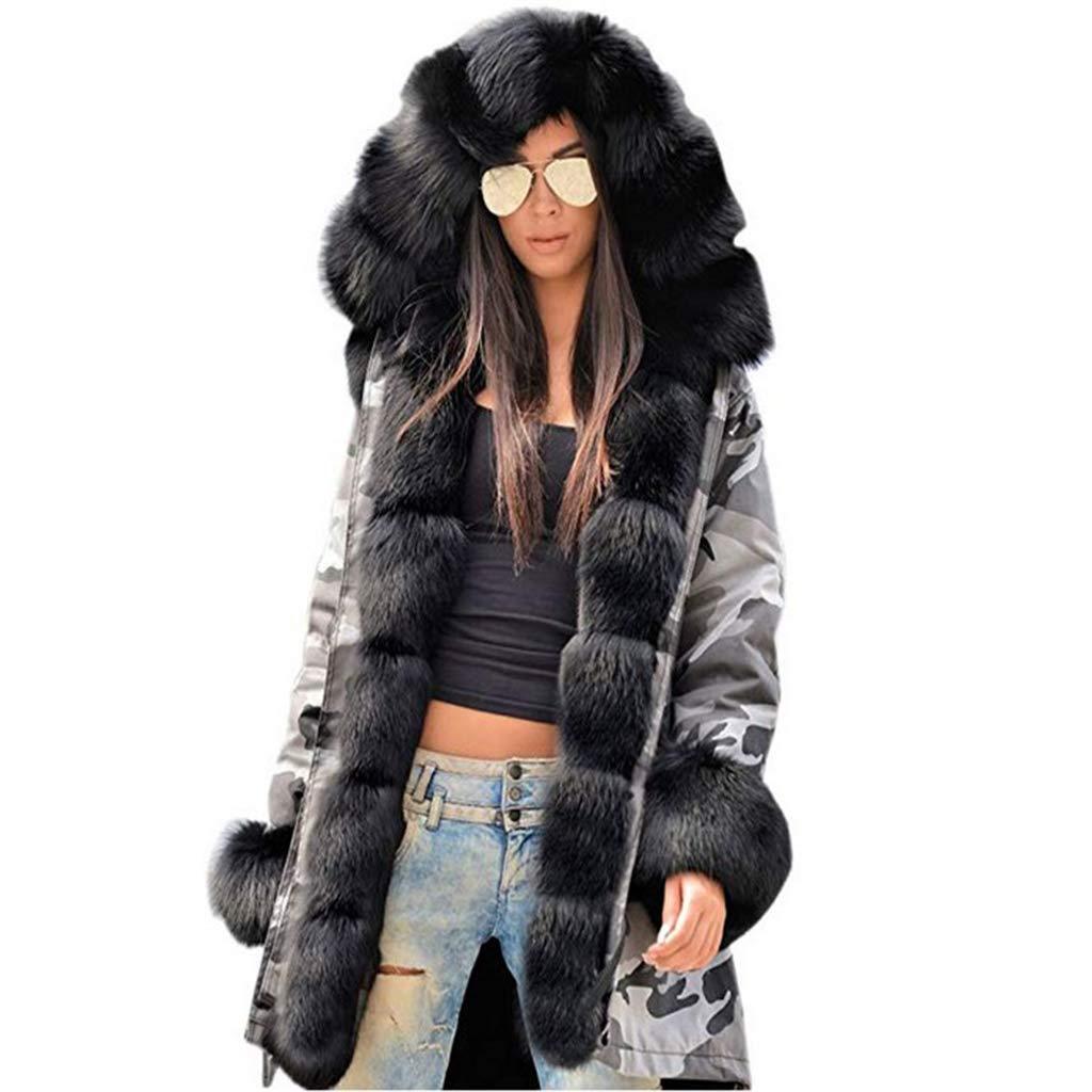Grey Camouflageblack VVTS Womens Hooded Faux Fur Lined Warm Coats Parkas Anoraks Outwear Winter Long Jackets