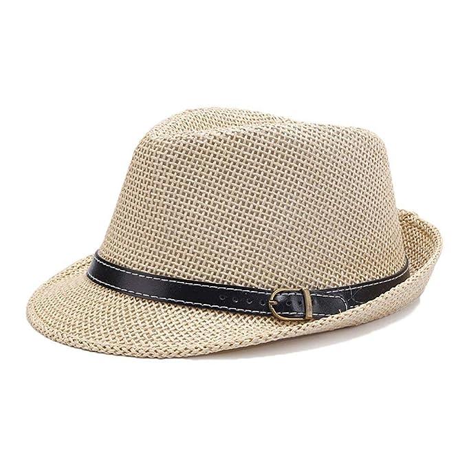 Hombre Sombrero De Paja para El Verano Sombrero para El Sol Chic De Los  Tejido A Mano Sombrero De Panamá Sombrero para El Sol Moda Casquillo Plano  ... 6cd5fdd9e11