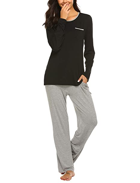 df3c27397f Image Unavailable. Image not available for. Color: Ekouaer Long Sleeve  Pajamas for Women Cotton Modal Lounge Wear - Comfy Pajama Set ...