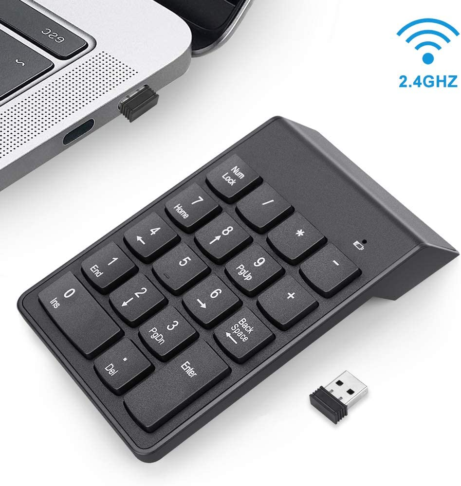 Global-store USB Numeric Keypad, 18 Keys Number Pad 2.4 GHz Numpad Keyboard with Portable Mini USB Receiver Keyboard Extension for Laptop/PC/Notebook/Desktop/Surface pro/Black(Battery Not Included)