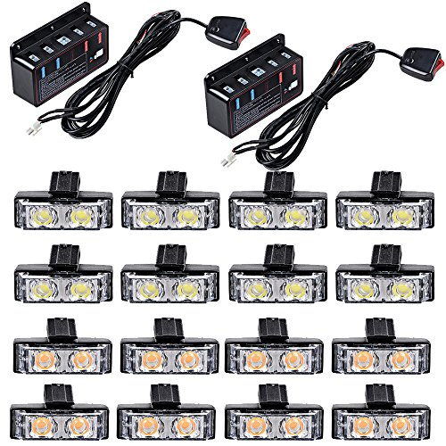 16X 2-LED Warning Hazard Emergency Flashing Strobe Light Bars Kit (8pcs White + 8pcs (Police Strobe Kit)