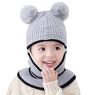 cd0aa2d9b95 CATSAP Baby Kids Cute Crochet Knit Cap Winter Warm Earmuffs Hat Skiing with Ear  Flap for Girls Boys 6 Months -3 Years (Gray)  Amazon.in  Clothing   ...