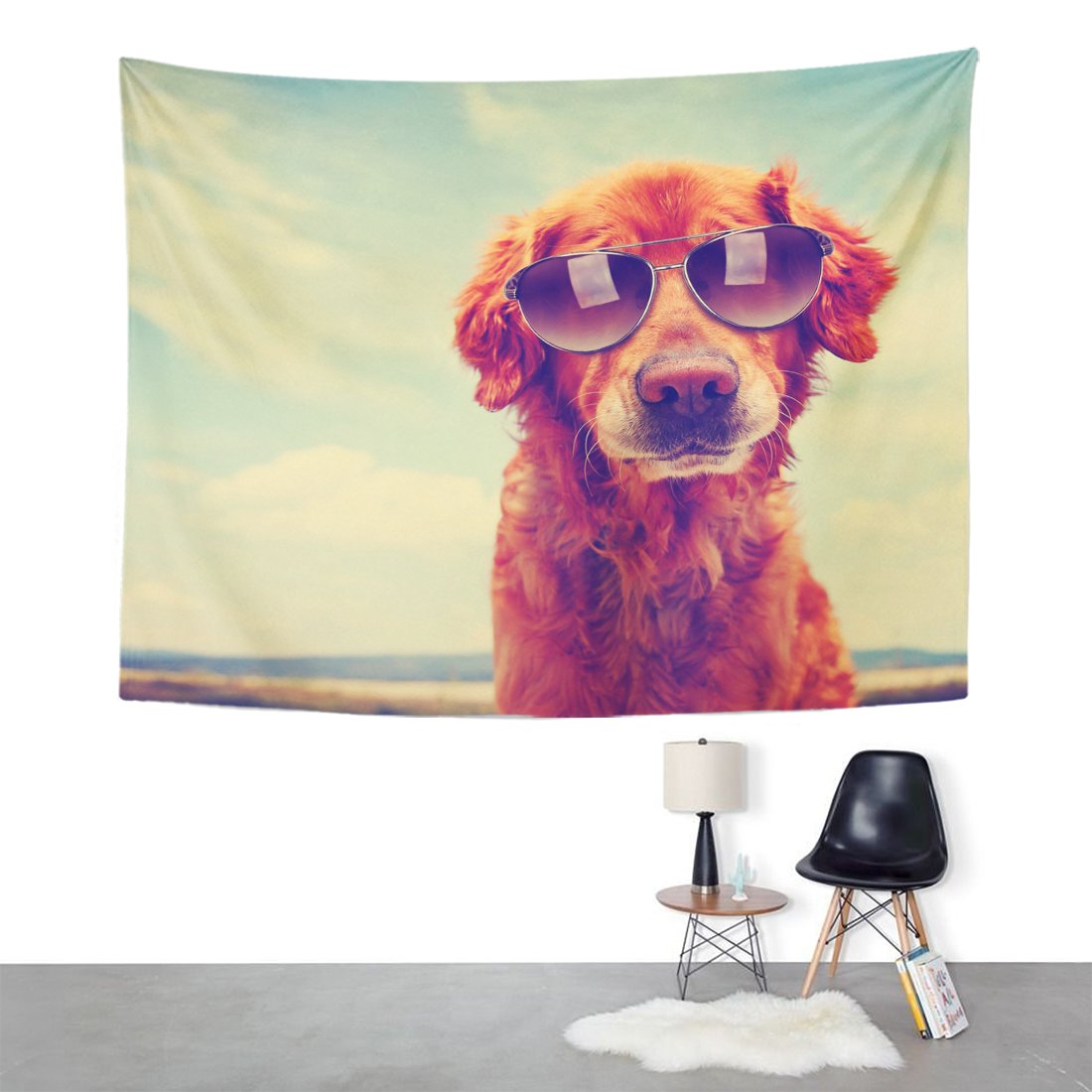 Emvency Tapestry Mandala 60x80 inch Home Decor Animal Cute Golden Retriever Toned with Retro Vintage with Sunglasses On Dog Eyewear for Bedroom Living Room Dorm