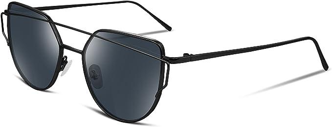 FEISEDY Cat Eye Fashion Women Sunglasses Metal Frame Mirrored Flat Lenses B2206