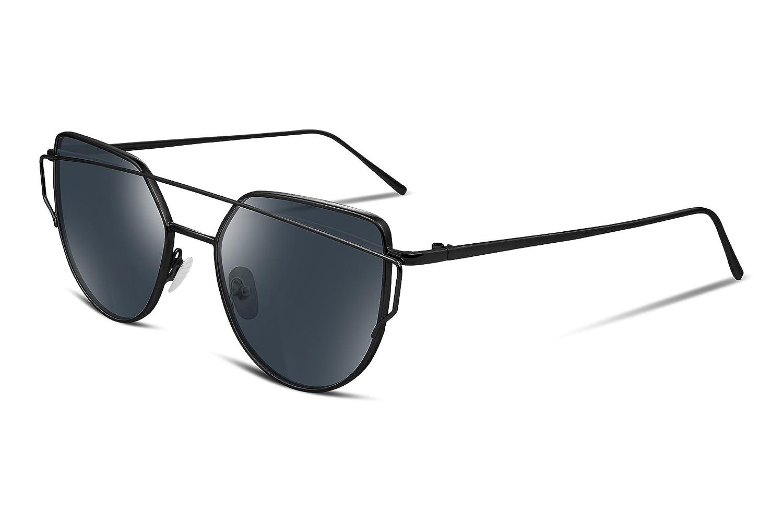 6958ef5b8e21a Amazon.com  FEISEDY Cat Eye Women Sunglasses Metal Frame Plain HD UV400  Lens B2206  Clothing
