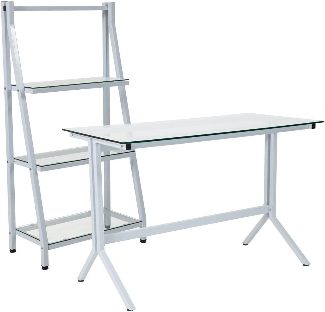 Flash Furniture Winfield Bookcase With Desk In Clear And White NAN-CEK-36-GG