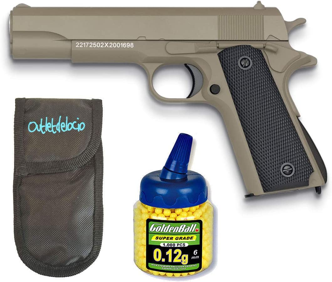 GOLDEN EAGLE Pistola Airsoft 1911 Marron. Calibre 6mm + Funda Portabalines + 1000 Bolas. 21993/23054