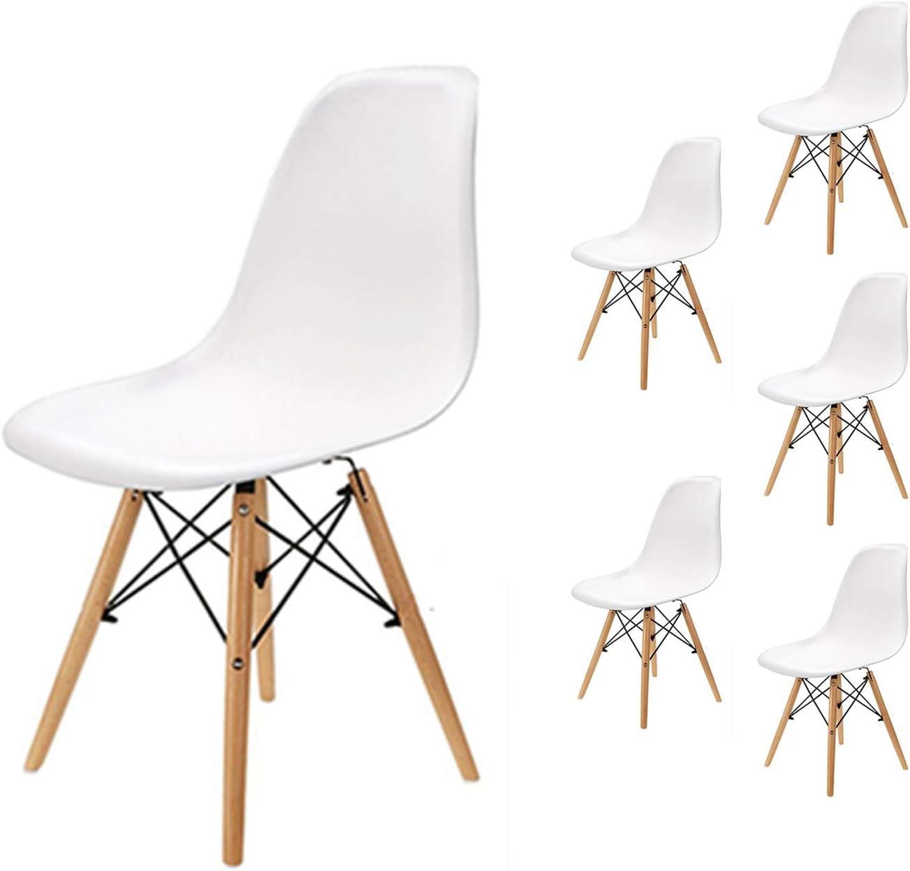 EGNM Pack 6 sillas de Comedor Blanca Silla diseño nórdico Retro Estilo 82 x 47 x 53 cm (Blanco-6)