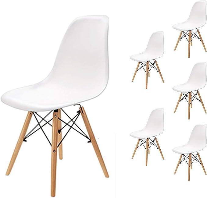 EGNM Pack 6 sillas de Comedor Blanca Silla diseño nórdico Retro ...