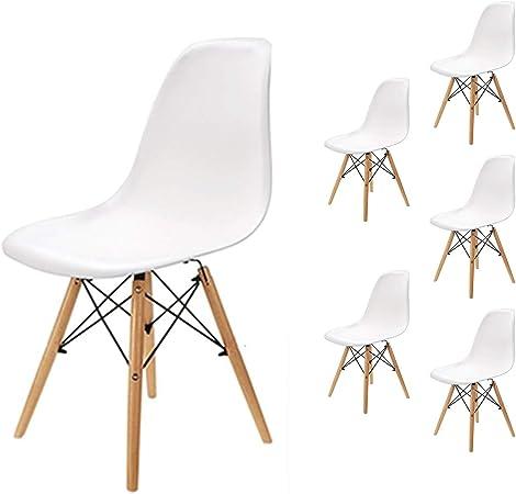 EGNM Pack 6 sillas de Comedor Blanca Silla diseño nórdico Retro Estilo 82 x 47 x 53 cm (Blanco-6): Amazon.es: Hogar