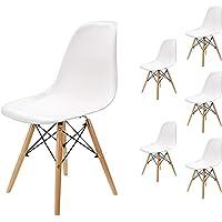 EGNM Pack 6 sillas de Comedor Blanca Silla