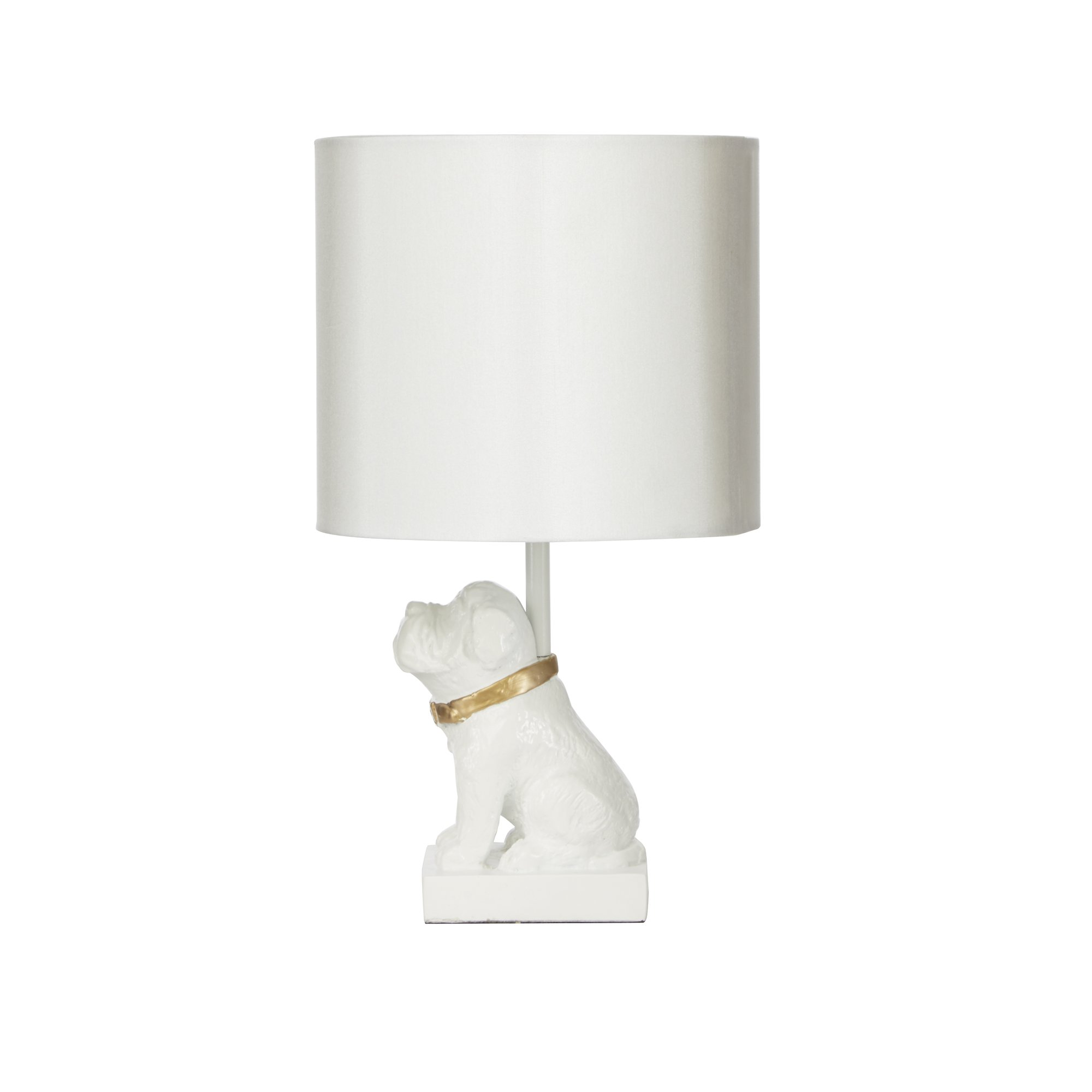Silverwood CPLT1148 Gold Accented Dog Resin Table Lamp, 15'' H, White