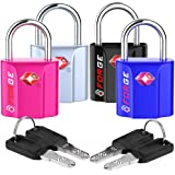 4 Colors TSA Approved Luggage Locks Ultra-Secure Dimple Key Travel Locks with Zinc Alloy Body