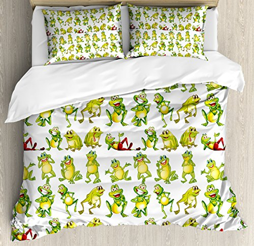 Ambesonne Nursery Duvet Cover Set Queen Size, Frogs in Different Positions Funny Happy Cute Expressions Faces Toads Cartoon, Decorative 3 Piece Bedding Set with 2 Pillow Shams, Green Yellow Red