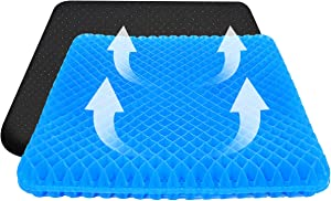 Gel Seat Cushion, Gel Seat Cushion for Office Chair, 17 in Seat Cushion for Tailbone Pain & Pressure Relief with Non-Slip Cover Ergonomics Chair Cushion