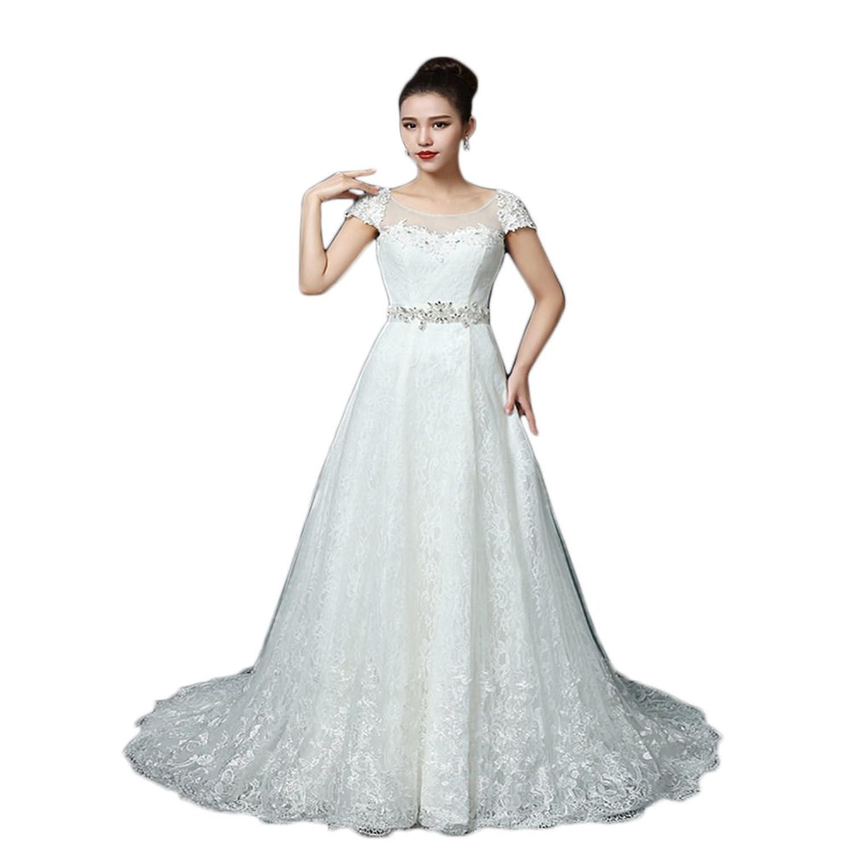Ikerenwedding Women's A-Line Applique Short Sleeves Scoop Lace Up Tulle Wedding Dress