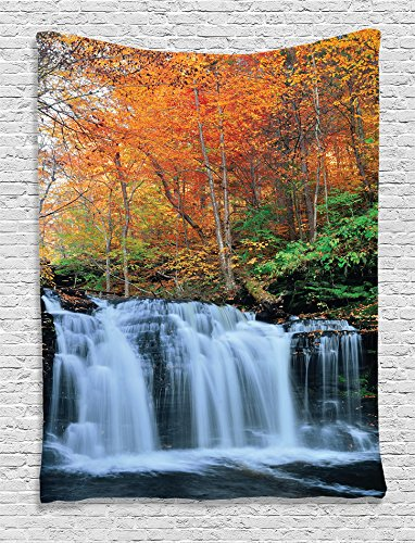 (Ambesonne Waterfall Decor Collection, Waterfalls in Autumn Park with Colorful Foliage Trees Picture, Bedroom Living Kids Girls Boys Room Dorm Accessories Wall Hanging Tapestry, Coral Green White)