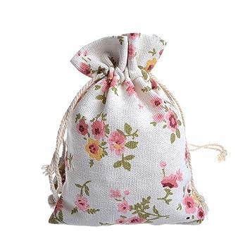Amazon.com: 25 bolsas de arpillera con cordón para regalo ...