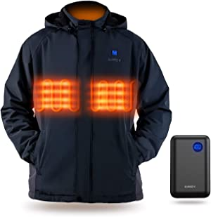 Heated Jacket, IUREK Men's Heated Clothing with 7.4V 10000mAh Battery Pack and Detachable Hood ZD961