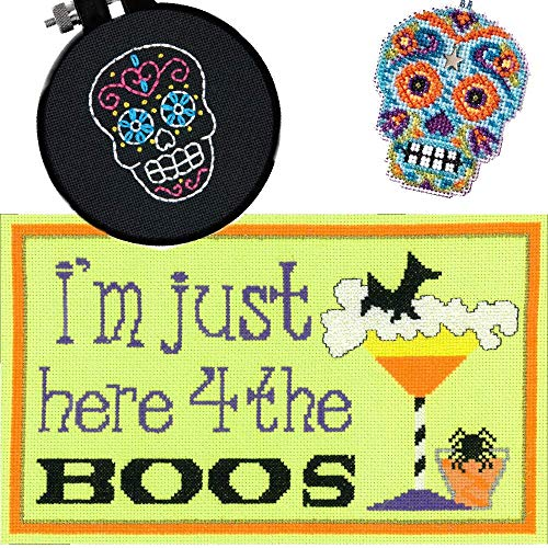 3 Item Cross Stitch Halloween Bundle - Here 4 The Boos, Counted Glass Bead Skull Kit with Charm Azul and Easy Skull Kit - Mill Hill Charms