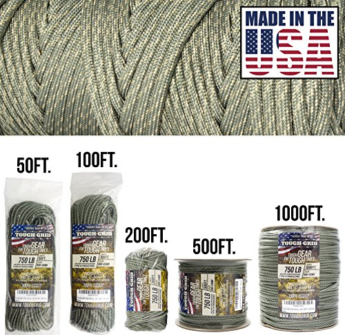 - TOUGH-GRID 750lb DIGI-Camo Paracord/Parachute Cord - Genuine Mil Spec Type IV 750lb Paracord Used by The US Military (MIl-C-5040-H) - 100% Nylon - Made in The USA. 200Ft. - DIGI-Camo