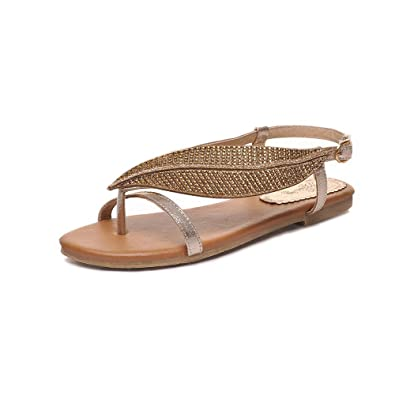 4a8164835b2e VogueZone009 Women s No-Heel Soft Material Solid Buckle Split Toe Flip-Flop- Sandals