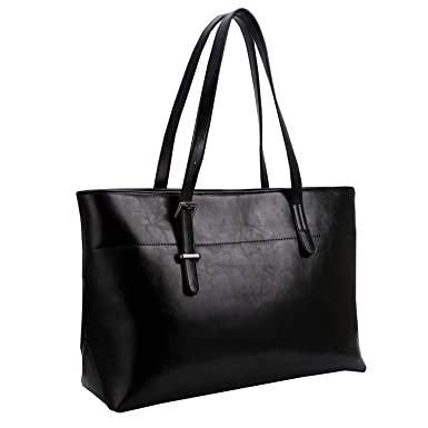 c01b9c0a2f10 Amazon.com: Iswee Womens Leather Shoulder Handbag Tote Bags Top Handle Bag  Designer Ladies Purses Fashion Large Capacity Bags (Black): Clothing