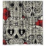"Specific Sugar Skull Waterproof Polyester Fabric Bathroom Shower Curtain 66"" x 72"""