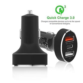 Cargador de Coche 45W 3 USB Puertos Quick Charge 3.0 Type-C ...