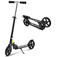 WeSkate Kick Scooter with 2 Big Wheels | Easy-Folding Adjustable Height Commuter Street Push Scooter for Adult Teen for City Urban Riders, Supports 220lbs Weight