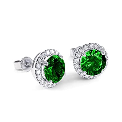 Stardust 2.3ct Emerald and Diamond Halo Silver Stud Earrings (WHITE GOLD) m9SNJ