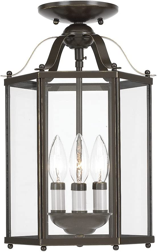 Sea Gull Lighting 5231-782 Bretton Three-Light Semi-Flush Convertible Pendant with Clear Glass Panels, Heirloom Bronze Finish