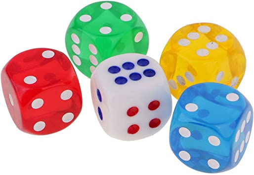 MagiDeal 5pcs / Set Dés de Couleur 6 Faces Dice D6 24mm en ...