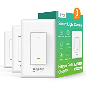 Gosund Smart Light Switch, in-Wall WiFi Smart Switch That Compatible with Alexa and Google Home, No Hub Required, Neutral Wire Needed, Single-Pole 15A, Etl and Fcc Listed,3 Pack White