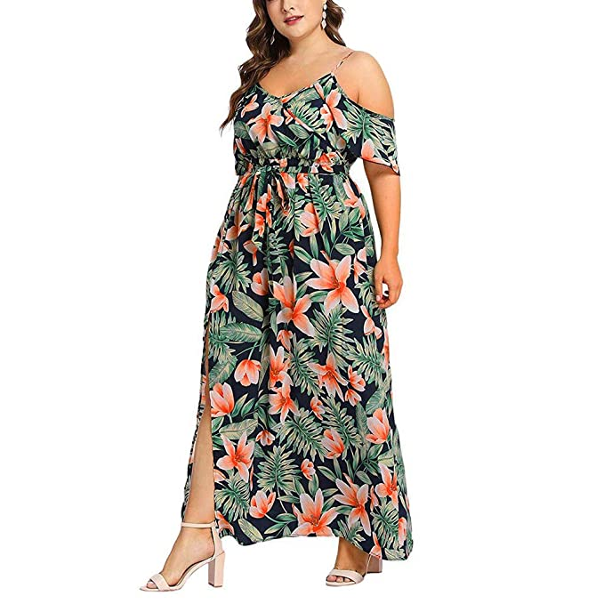 Amazon.com: Sharemen Womens Plus Size V-Neck Casual Bohemian Foloral Print Split Strapless Strap Waist Split Long Maxi Dress: Clothing