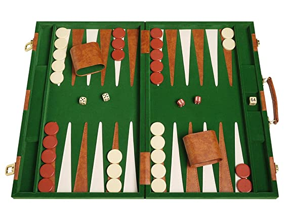 Deluxe Backgammon Set Board Game (Green 18 X 12)
