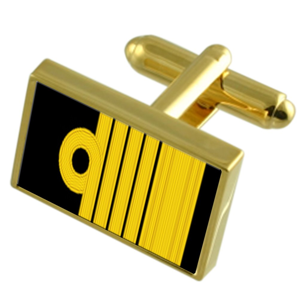 Royal Navy Insignia Rank Admiral of The Fleet Gold-Tone Cufflinks Black Pouch