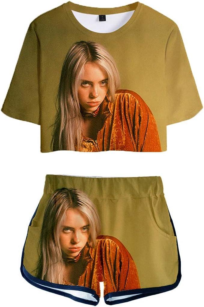 Billie Eilish Pullover Neutral Style Sportswear Sets Dew Navel Kurzarm T Shirts Und Shorts Rock Zweiteilige Sets Unisex Amazon De Bekleidung