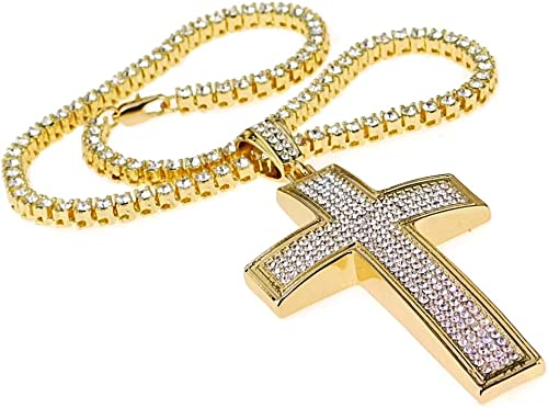 """Mens Hip Hop Chain One Row Iced-Out 30/"""" Inch Tennis Necklace Gold Finish Bling"""