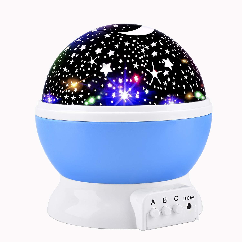 Lampada di Illuminazione Notturna,Lampada Stelle Proiettore Bambini, Rotante 360 Grado Stella Luna Cielo Proiettore per Bambini,Camera da Letto E-Bestar