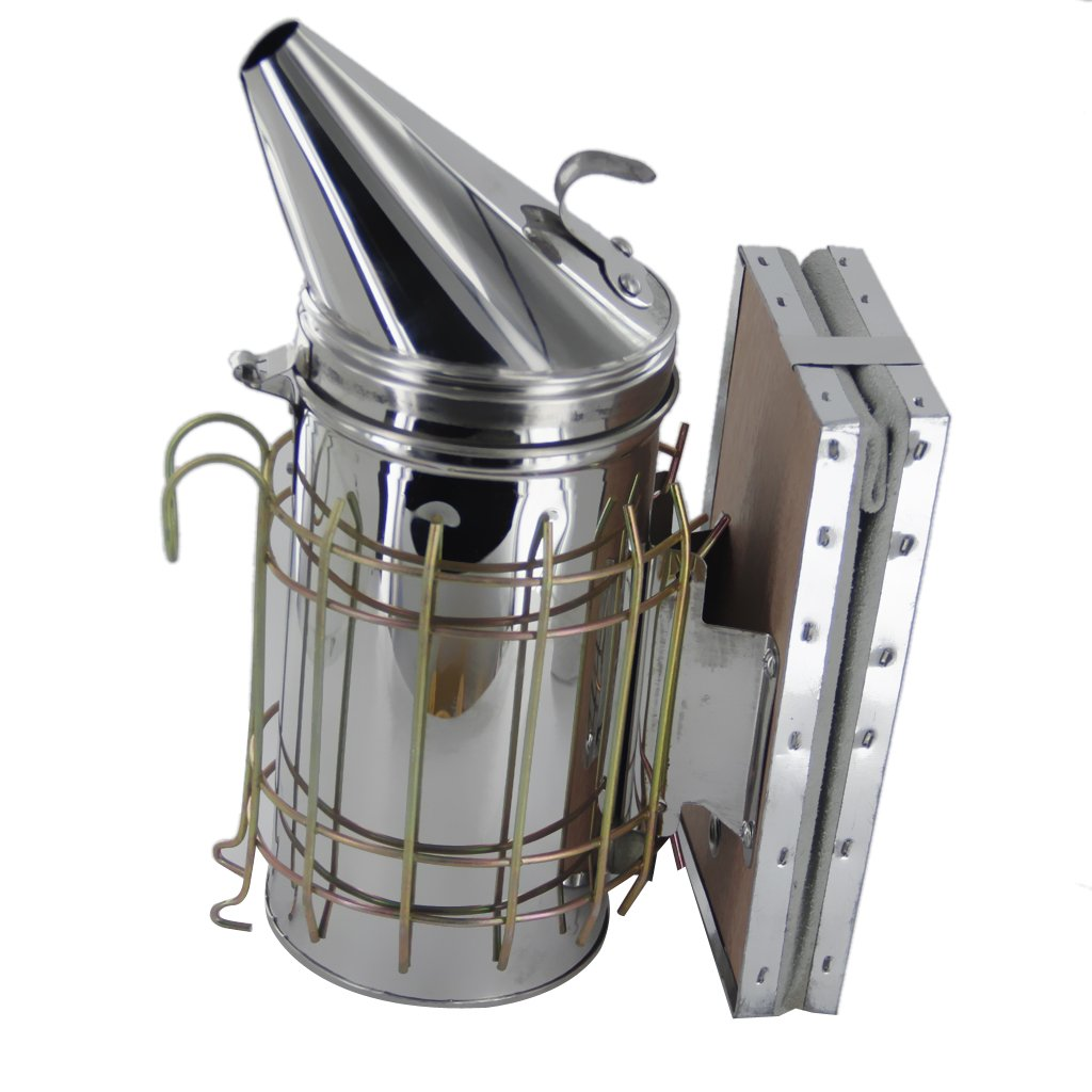 Baosity Bee Hive Smoker Stainless Steel W/Leather Heat Shield Beekeeping Equipment by Baosity (Image #2)