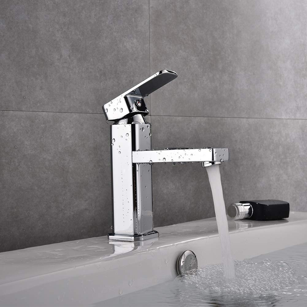 Commercial Modern Bathroom Faucet Single Handle Chrome, Single Hole Washbasin Faucet with Deck Simple Installation