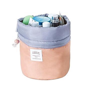 2604186702 Amazon.com   Barrel Shaped Travel Cosmetic Bag Make Up Bag Drawstring  Elegant Drum Wash Kit Bags Makeup Organizer Bag 1   Beauty